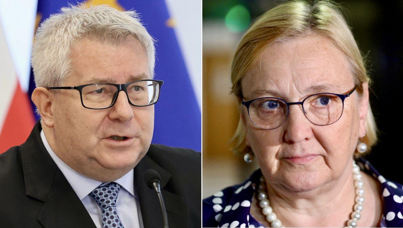 Ryszard Czarnecki i Róża Thun (fot. arch.PAP/R.Guz, Leszek Szymański)