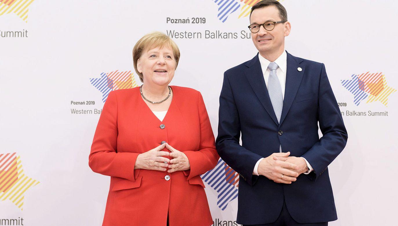 Kanclerz Niemiec Angela Merkel i premier RP Mateusz Morawiecki (fot. arch.PAP/Jakub Kaczmarczyk)