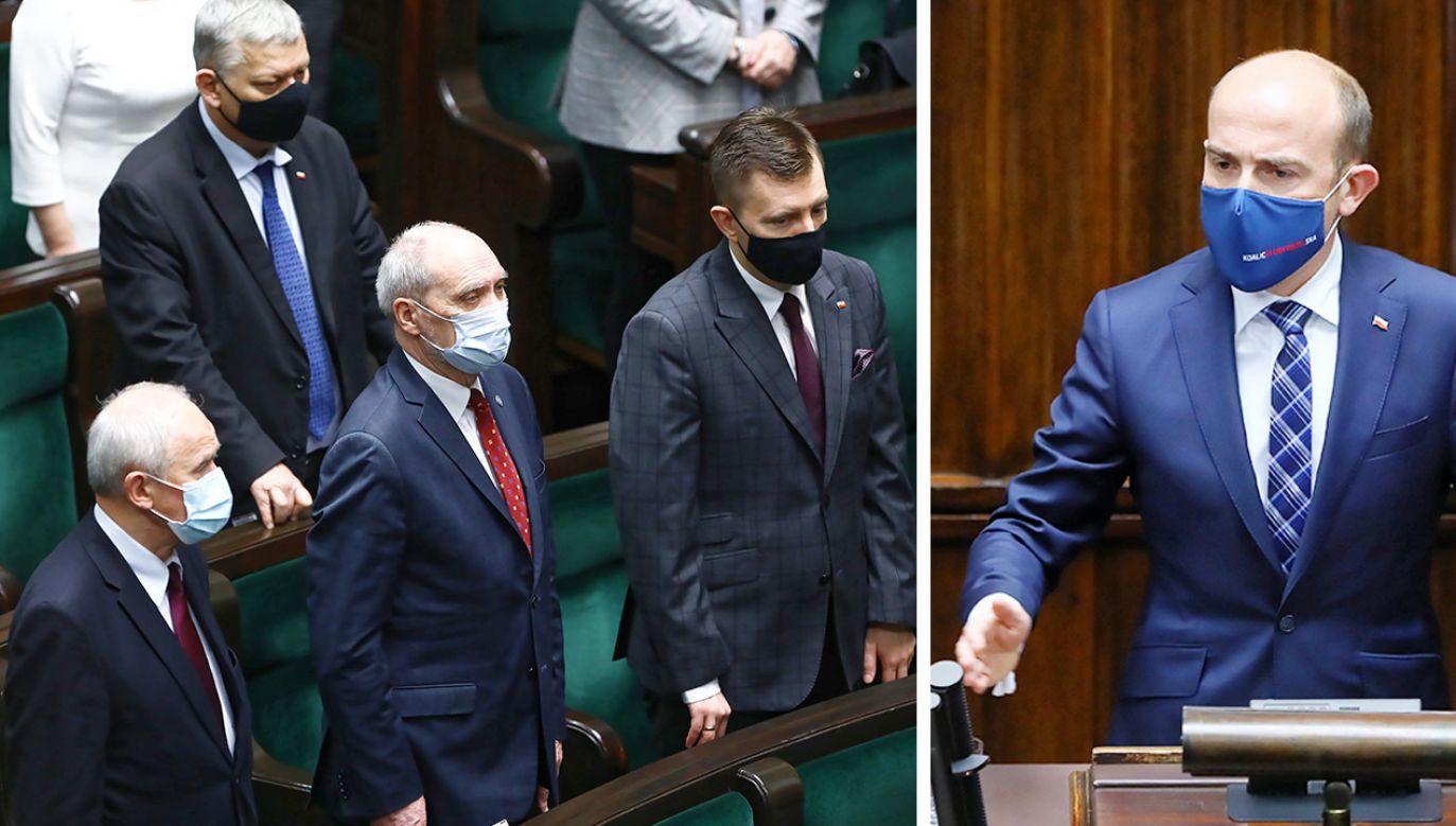 Politycy PiS i Borys Budka z PO (fot. PAP/Rafał Guz)