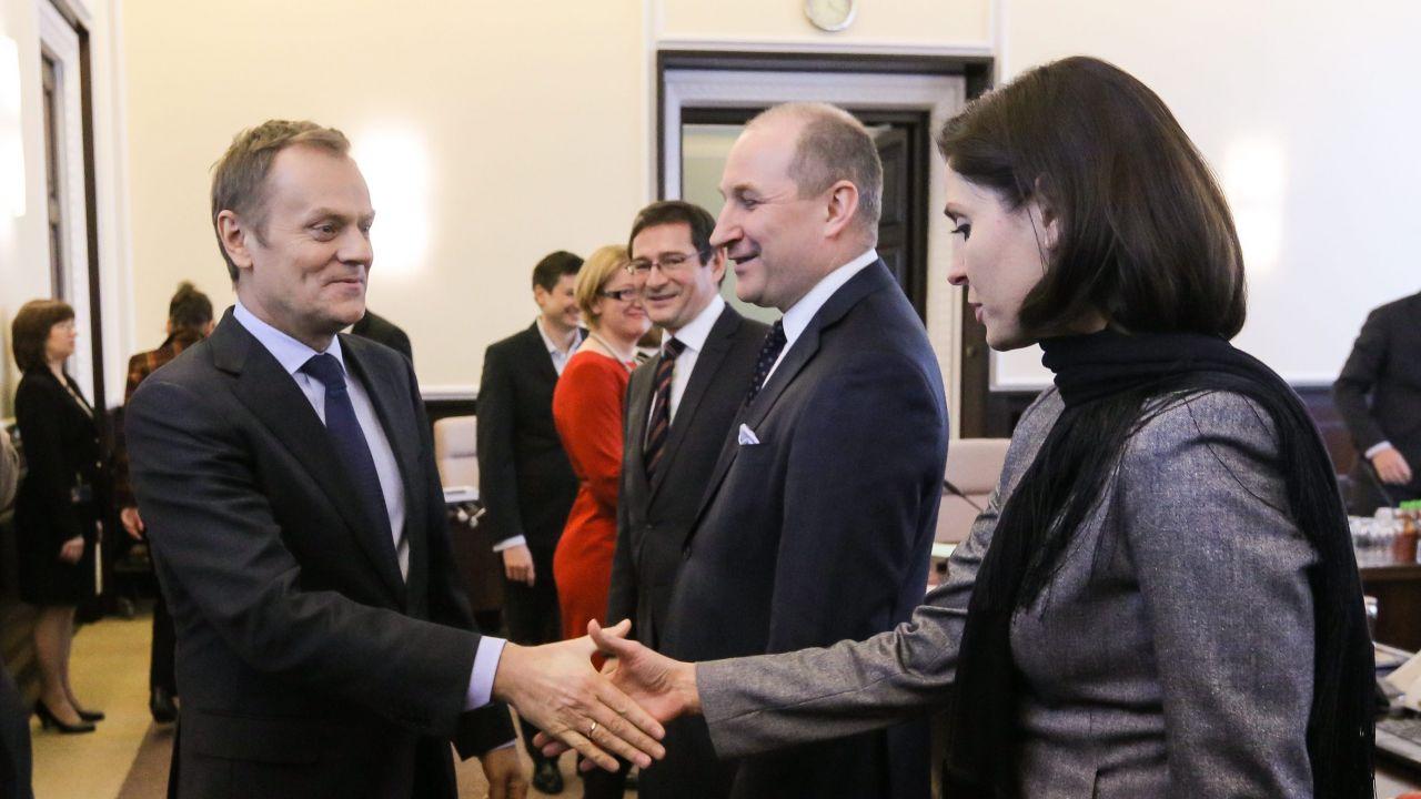 Donald Tusk, Maciej Szpunar i Joanna Mucha (fot. arch. PAP/Paweł Supernak)