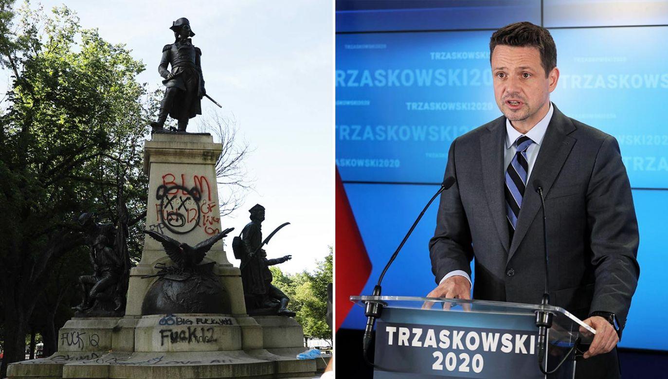 Rafał Trzaskowski zabrał głos nt. dewastacji  pomnika Kościuszki  (fot. PAP/Yuri Gripas/ABACAPRESS.COM; PAP/Paweł Supernak)