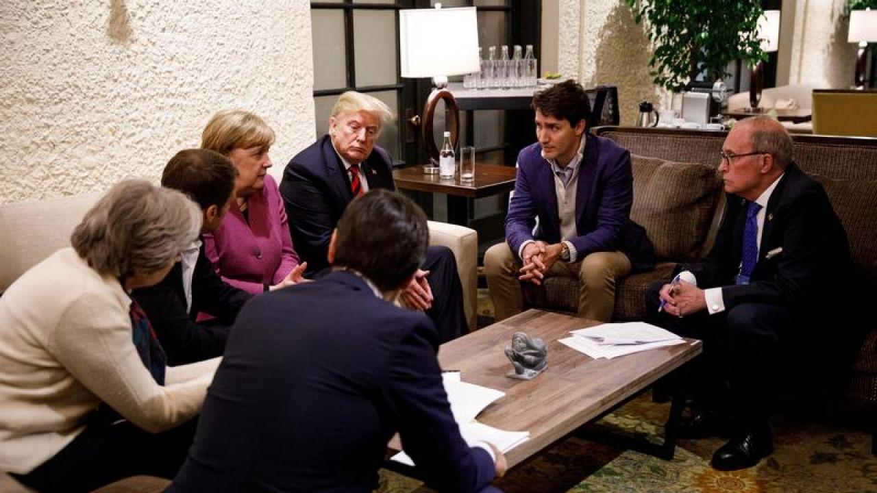 Prezydent USA wycofał poparcie dla deklaracji członków G7 (fot. Adam Scotti/Prime Minister's Office/Handout via REUTERS)