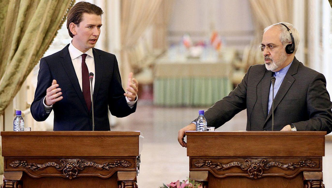 Kanclerz Austrii Sebastian Kurz oraz irański minister spraw zagranicznych Mohammad Dżawad Zarif (fot. Fatemeh Bahrami/Anadolu/Getty Images)
