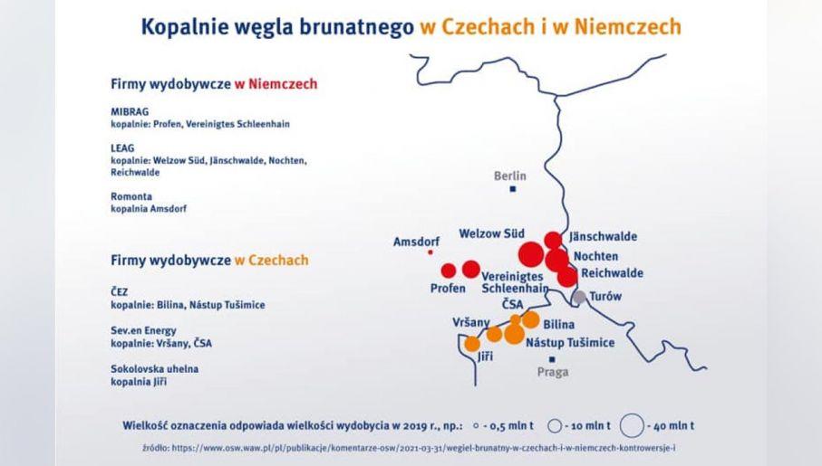TSUE nakazuje zamknąć kopalnie Turów. Przy granicy funkcjonuje 9 kopalni –  Niemcy i Czechy. PGE pokazuje ważną mapę - tvp.info