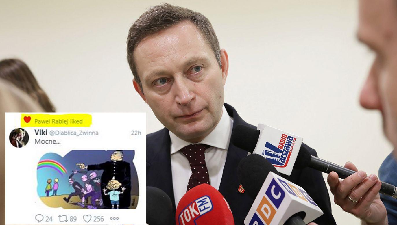 """Paweł Rabiej """"polubił"""" grafikę, której autor sugeruje, że księża szczują na osoby LGBT (fot. arch.PAP/Wojciech Olkuśnik/tt/@Artur_Jarzabek)"""