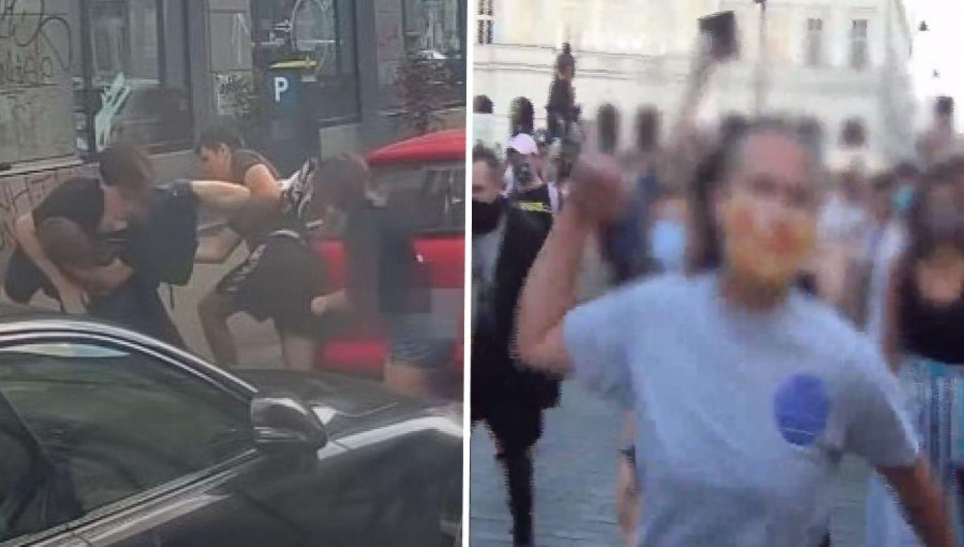 Autorzy listu nie odnieśli się do faktu, że w trakcie manifestacji, o której mowa, lżono funkcjonariuszy policji, a aktywista LGBT, w którego obronie się ona odbyła, został aresztowany m.in. za napaść (fot. yt/Fundacja Pro Tv; Policja)