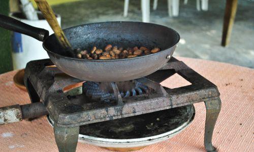 Pokaz prażenia ziaren kakaowych (Theobroma cacao). Guayas,Ekwador. Fot. Martha Barreno / VW Pics / Universal Images Group via Getty Images