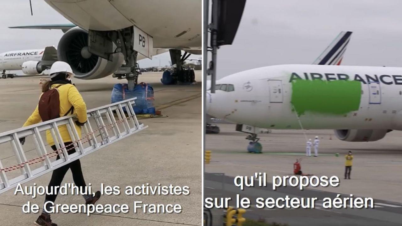 Zaatakowano boeinga 777 francuskich linii Air France (fot. FB/Greenpeace France)