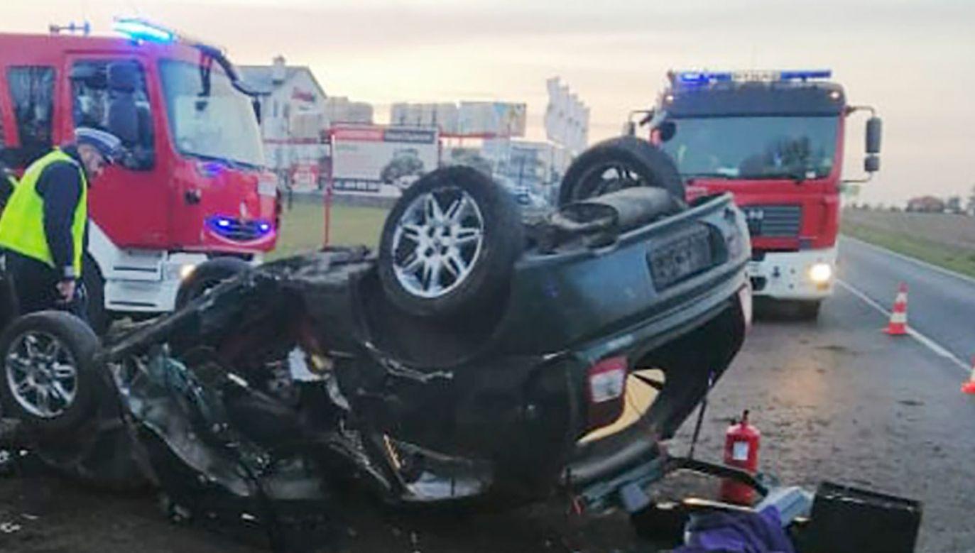 Przyczyną wypadku była prędkość niedostosowana do warunków na drodze (fot. KPP Brodnica)