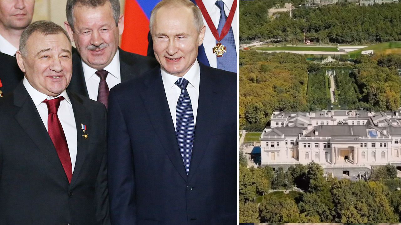 "Arkadij Rotenberg twierdzi, że jest właścicielem ""pałacu Putina"" (fot. Mikhail Svetlov/Getty Images; TVP Info)"