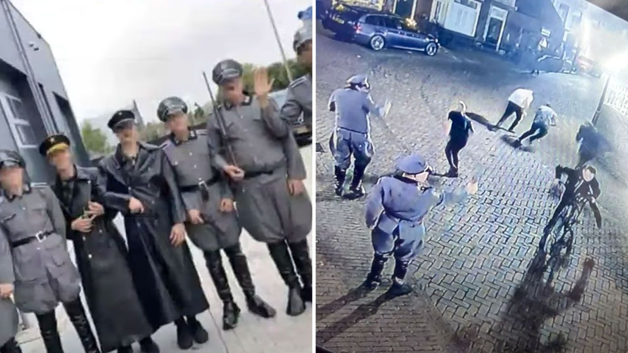 Skandaliczna inscenizacja w nazistowskich mundurach (fot. YouTube/ Hart van Nederland; Nora Alouani)