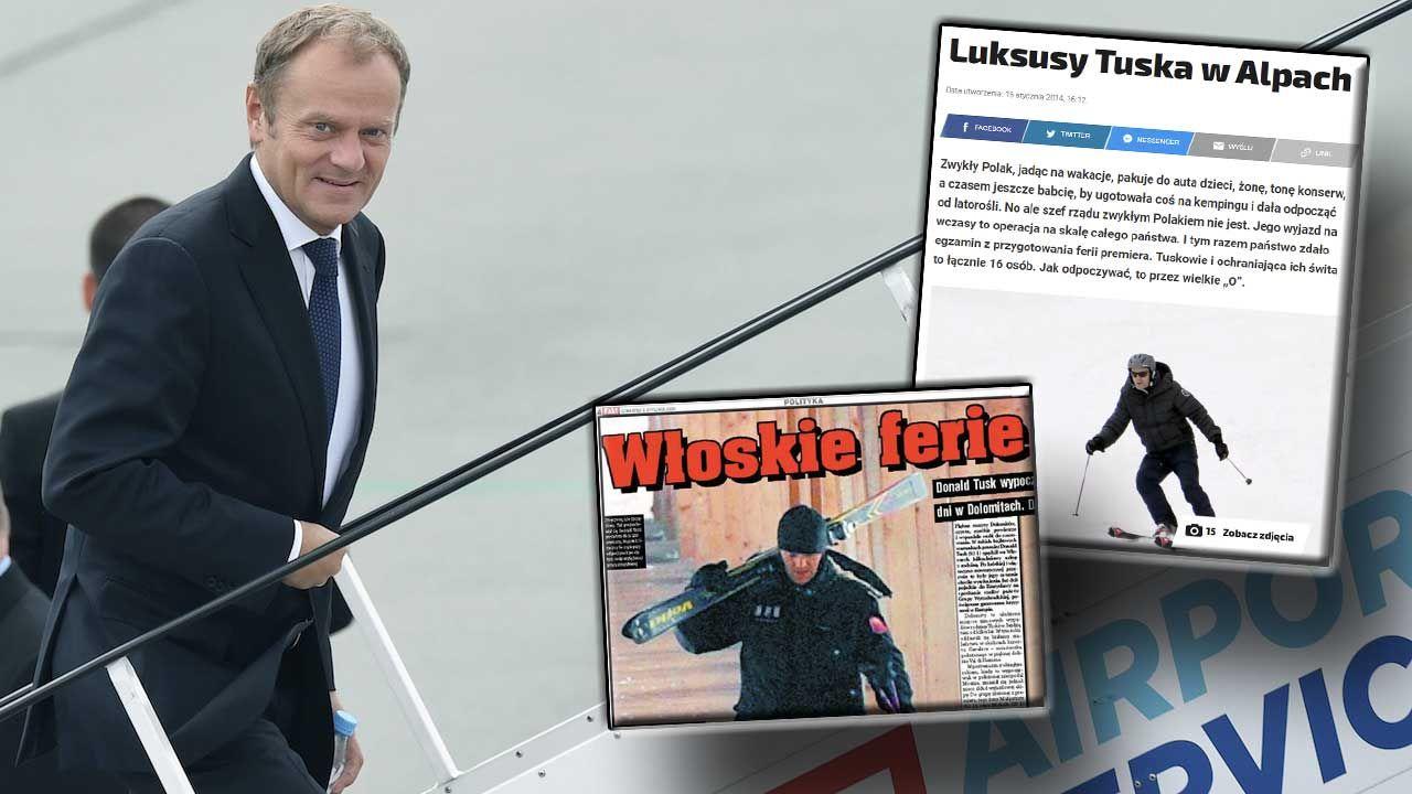 O luksusowych wakacjach Donalda Tuska w Alpach rozpisywały się media (fot. arch.PAP/Radek Pietruszka; screen: fakt.pl)