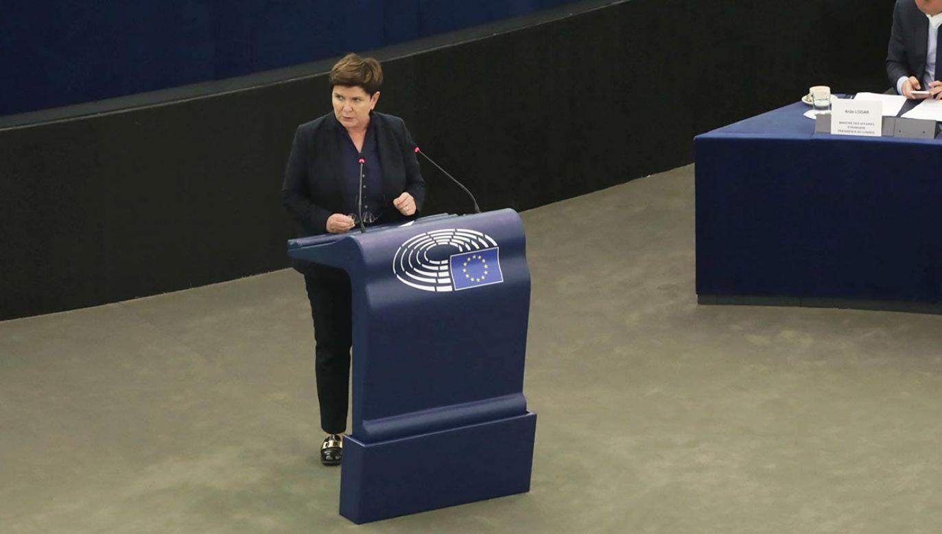 Beata Szydło zabrała głos podczas wtorkowej debaty w Parlamencie Europejskim (fot. PAP/Albert Zawada)