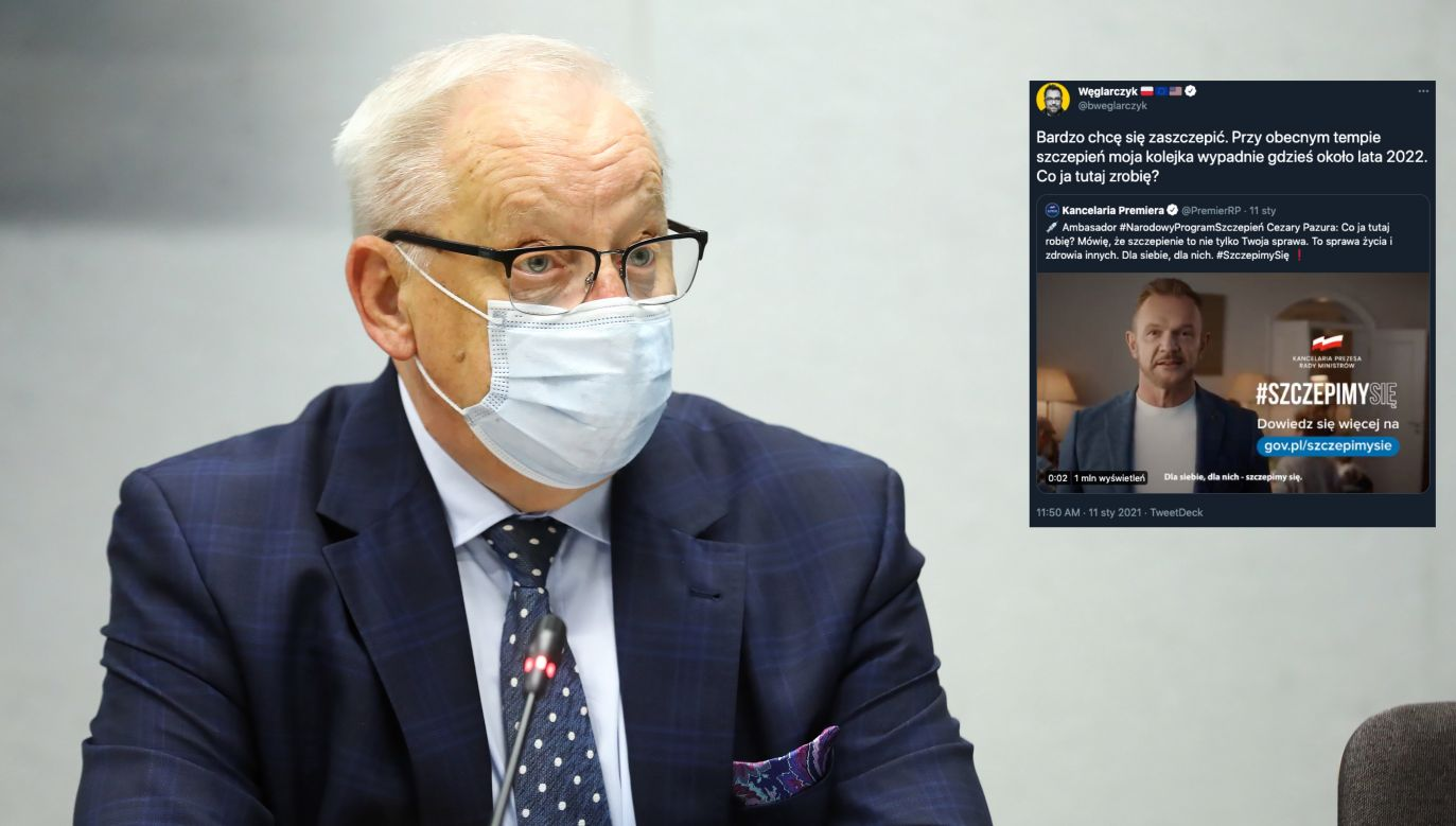 Szczepienia na COVID-19. Bolesław Piecha (PiS) komentuje (fot. PAP/Rafał Guz, Twitter.com/bweglarczyk)