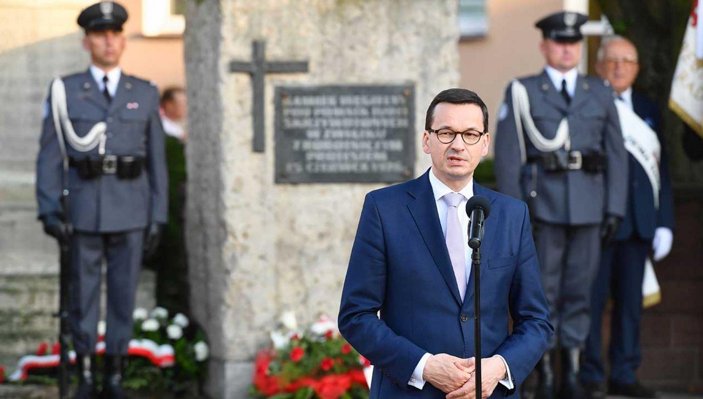 To był etap walki o wolność, etap, który bardzo krwawo i w istotny sposób zaznaczył się na polskiej drodze do wolności – mówił Mateusz Morawiecki (fot. PAP/Piotr Polak)