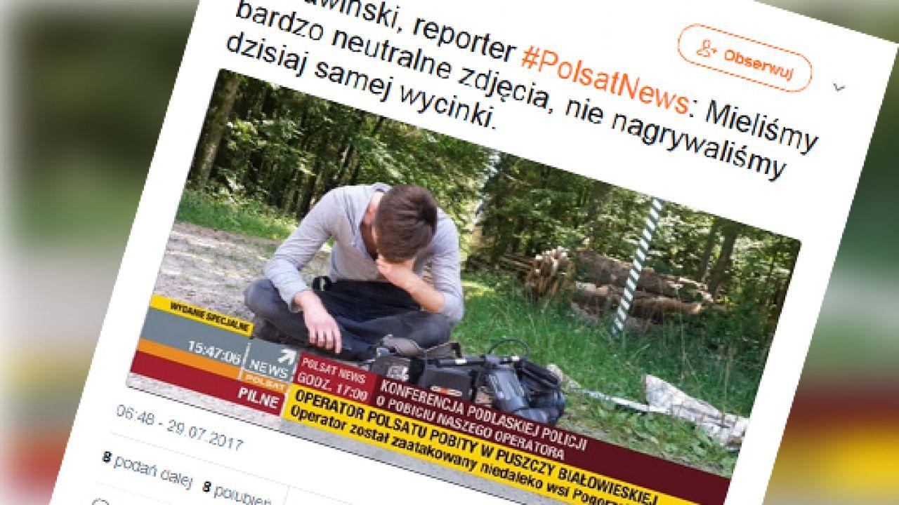 Kolejny atak na dziennikarzy (fot. Twitter/tvpolsat.info)