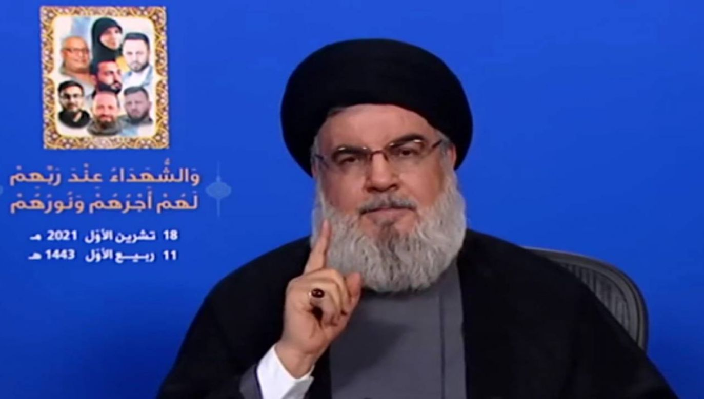 Przywódca Hezbollahu szejk Hasan Nasrallah (fot. EPA/AL-MANAR TV HANDOUT)