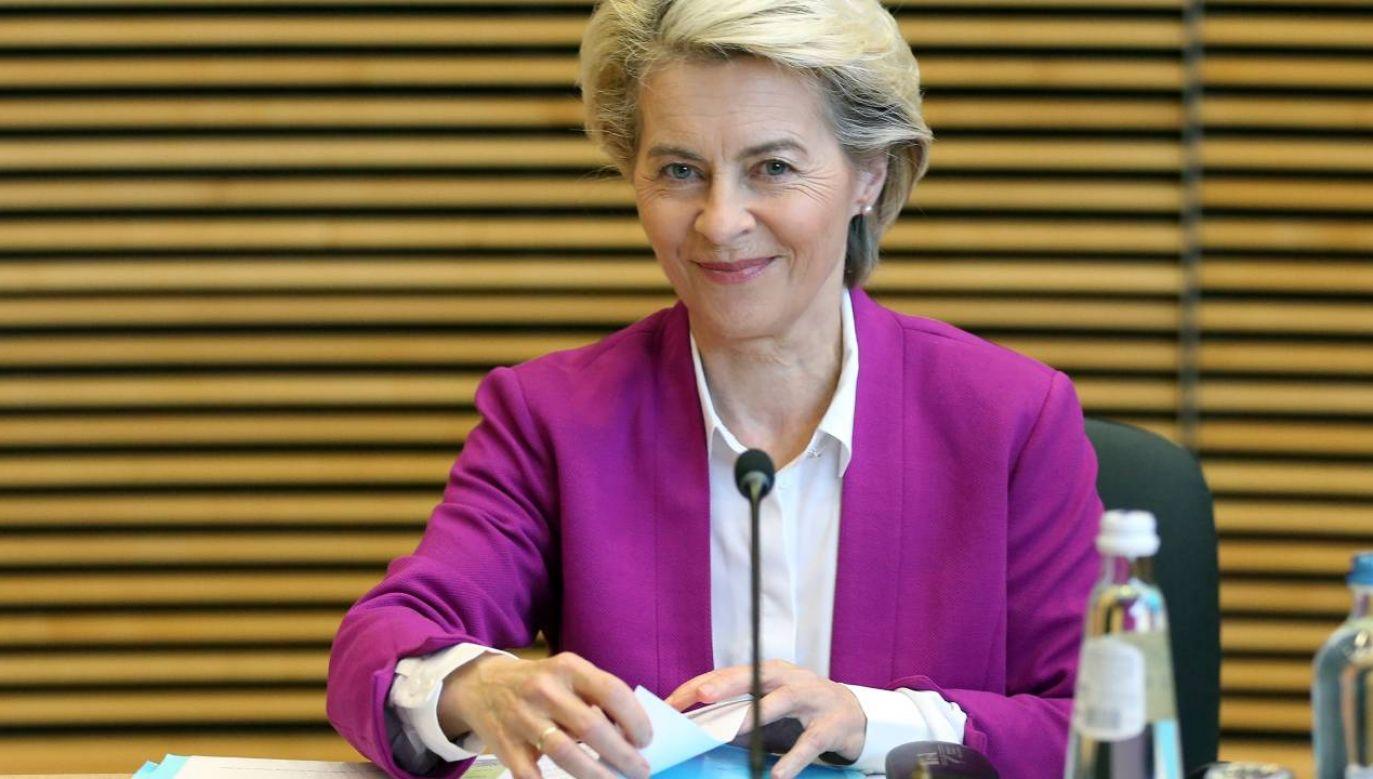 Przewodnicząca Komisji Europejskiej Ursula von der Leyen (fot. PAP/EPA/FRANCOIS WALSCHAERTS / POOL)