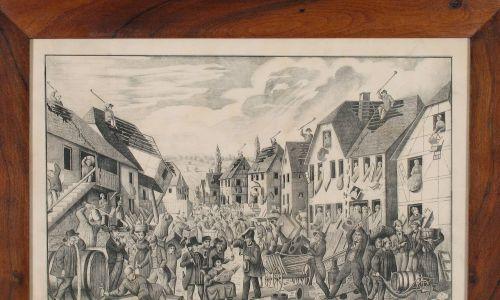 Litografia o powstaniu przeciwko Żydom w 1848 r. W zbiorach Muzeum Żydowskiego w Szwajcarii. Fot. LGLou - Dieter Hofer, CC BY-SA 4.0, https://commons.wikimedia.org/w/index.php?curid=97657173