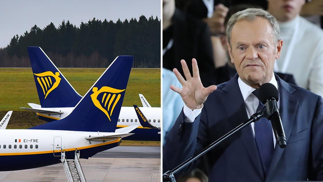 Donald Tusk jako premier uchylił się od odpowiedzi na pytanie o dotacje pod stołem (fot. Shutterstock/Vytautas Kielaitis; PAP/Wojciech Olkuśnik)