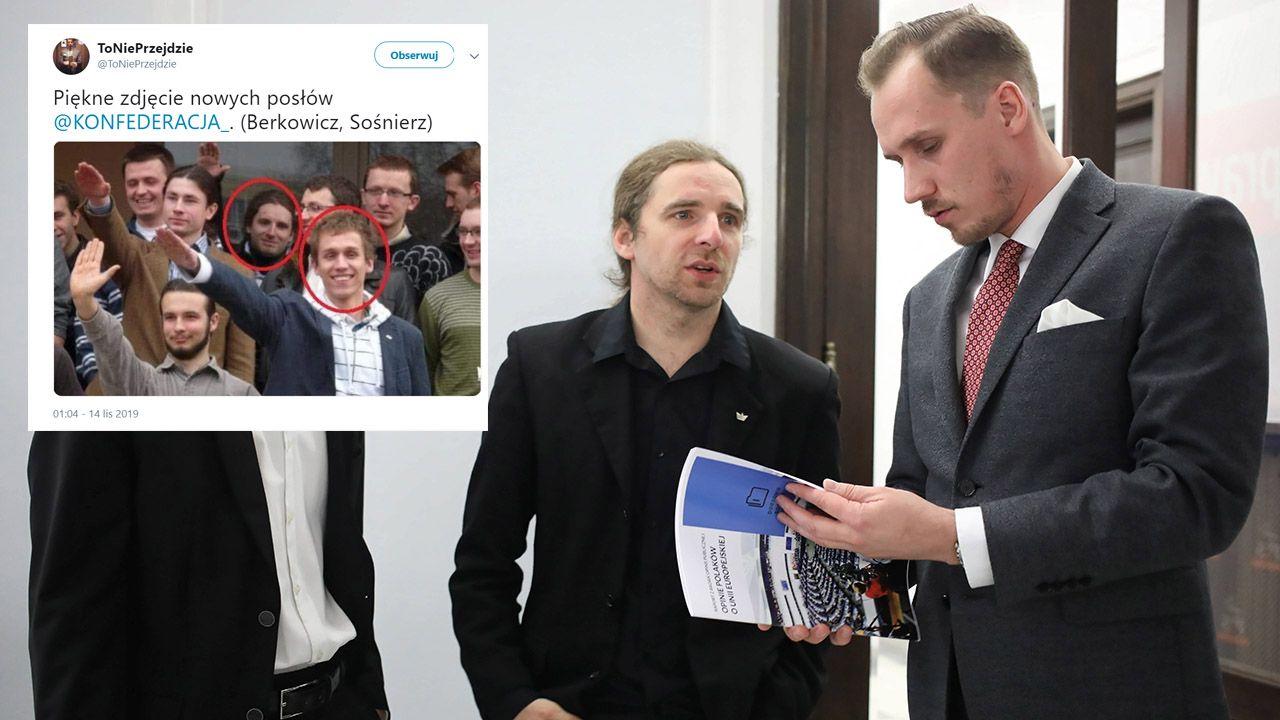 """Jakbym miał się powygłupiać, to dzisiaj też bym hajlował – przyznał Dobromir Sośnierz (fot. arch.PAP/Leszek Szymański/tt/@ToNiePrzejdzie; """"Idź Pod Prąd TV"""" )"""