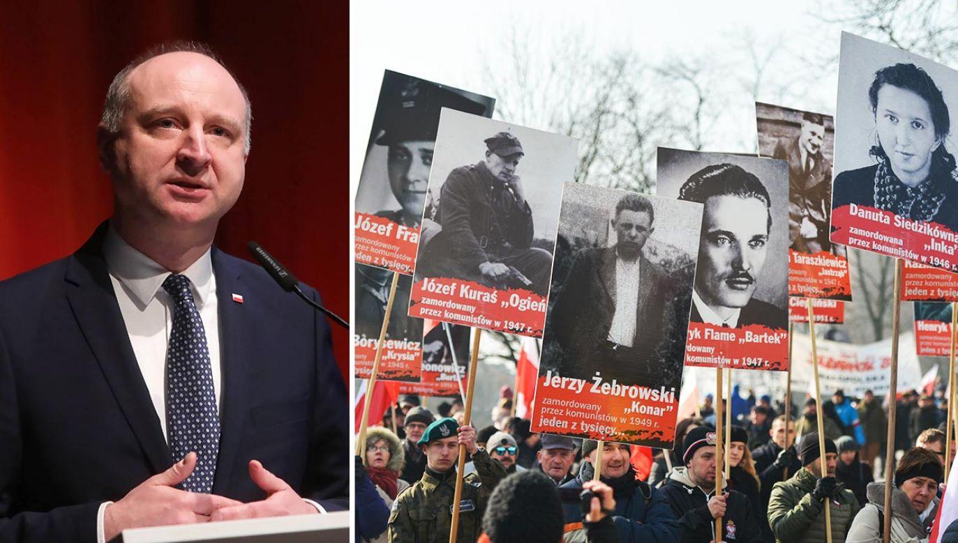 Wojciech Kolarski mówił też o potrzebie istnienia IPN (fot. PAP/Wojciech Olkuśnik; Artur Widak/NurPhoto via Getty Images)