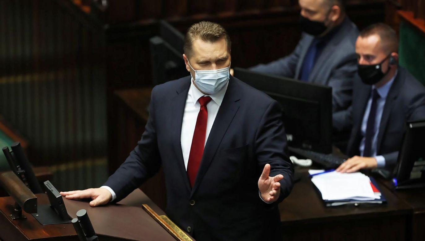 """""""Do normalności nie wraca Lewica i pani poseł"""" (fot. PAP/Wojciech Olkuśnik)"""