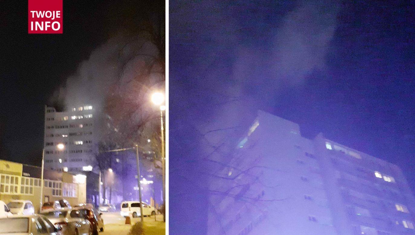 Pożar w bloku przy ul. Giordana Bruna (fot.Twoje Info)