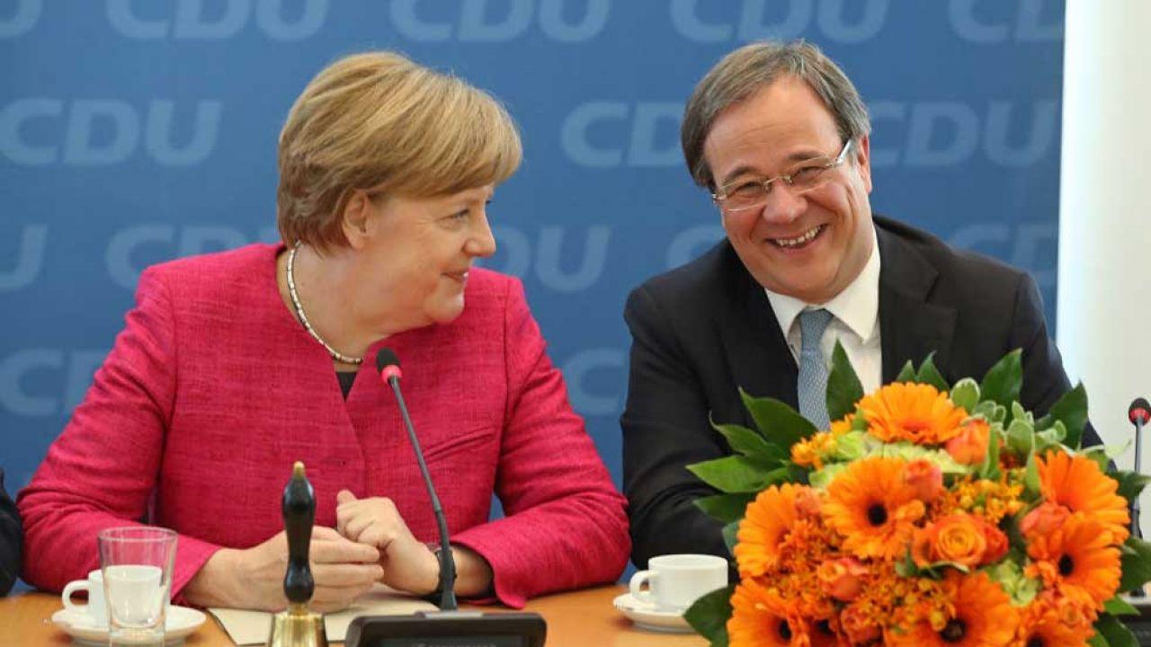 Angela Merkel i Armin Laschet (fot. Sean Gallup/Getty Images)