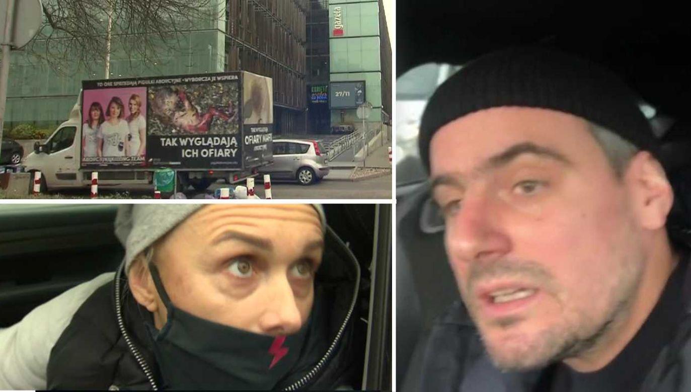 Antoni Pawlicki zablokował ciężarówkę aktywistów pro-life (fot. TVP1/IG/Antek Pawlicki)