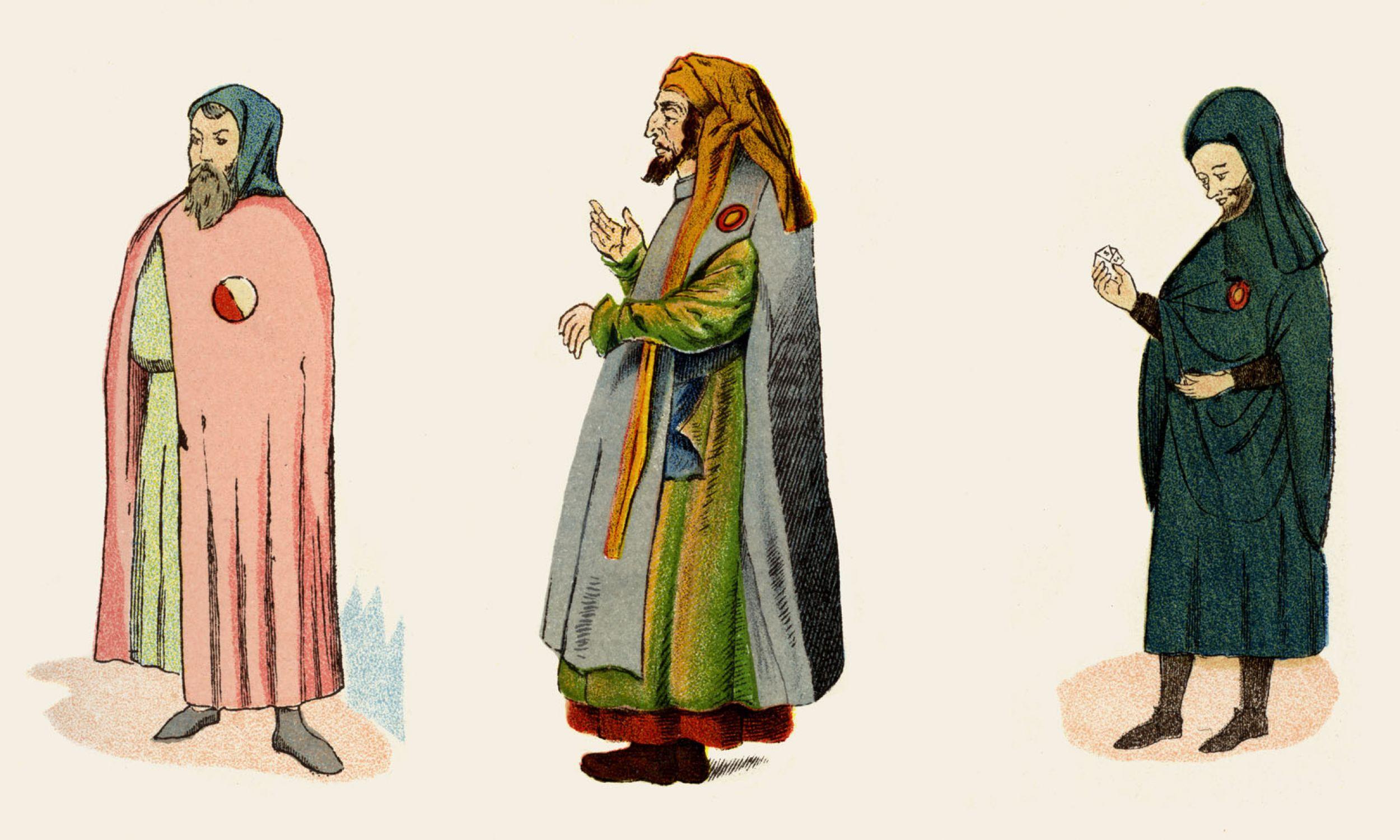 Żydzi w średniowieczu noszący identyfikacyjne odznaki. Od lewej do prawej: ilustracja z XIV-wiecznego francuskiego manuskryptu; rękopis niemiecki sprzed 1500 r.; Manresa w Katalonii, Hiszpania, 1347 r. Średniowieczne odznaki identyfikujące obywateli będących Żydami wprowadzono w wyniku czwartego Soboru Laterańskiego z 1215 r., za namową papieża Innocentego III. Fot. Culture Club / Getty Images