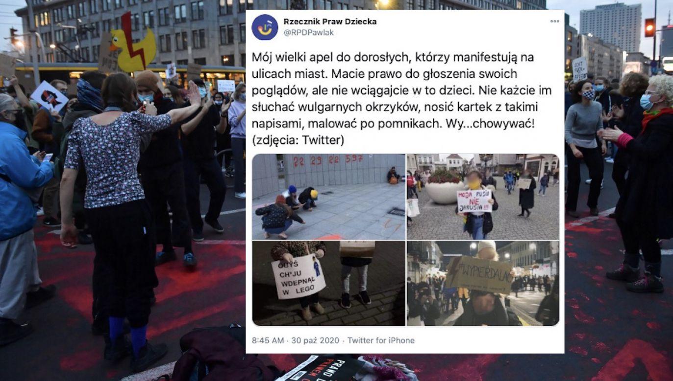 Pojawia się coraz więcej zdjęć kilkuletnich dzieci trzymających tabliczki z wulgarnymi hasłami (fot. tt/@RPDPawlak, PAP/Radek Pietruszka)