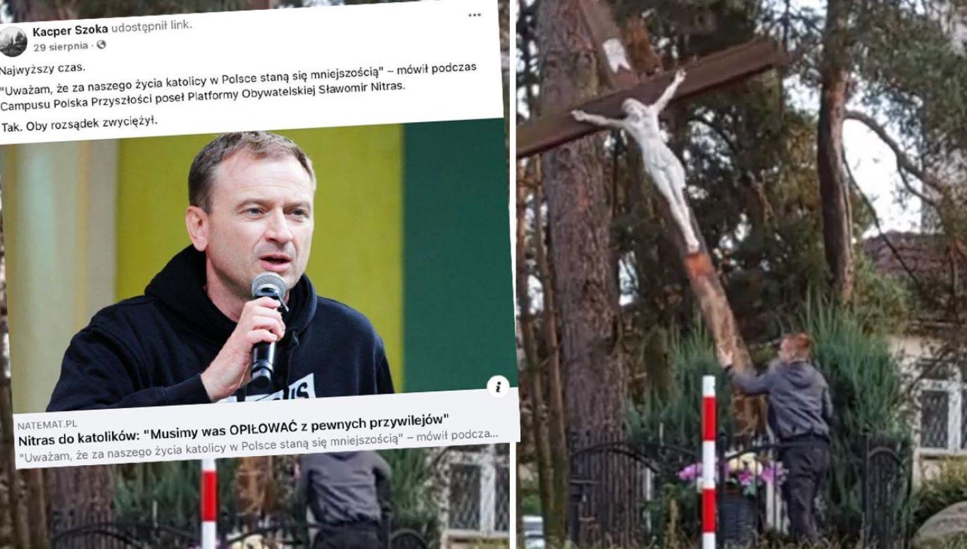 Internauta chwalił słowa posła Nitrasa, teraz pokazał piłowanie krzyża (fot. Twitter)