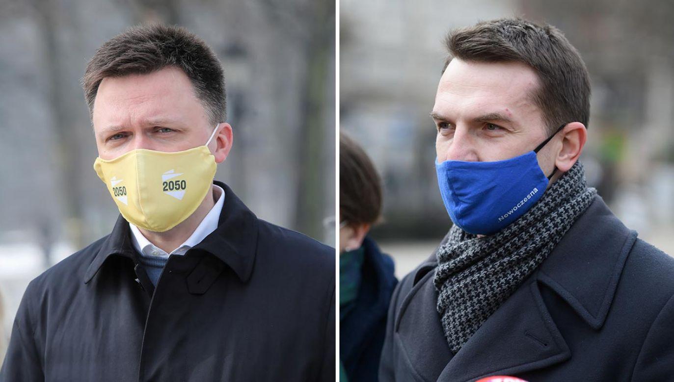 Szymon Hołownia i Adam Szłapka (fot. PAP/Wojciech Olkuśnik, Jakub Kaczmarczyk)