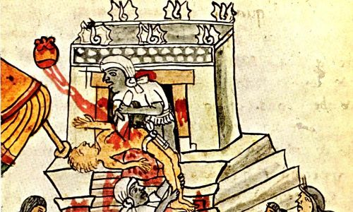 Ofiara składana bogom z ludzi. Kodex Magliabechiano. Fot. Wikimedia