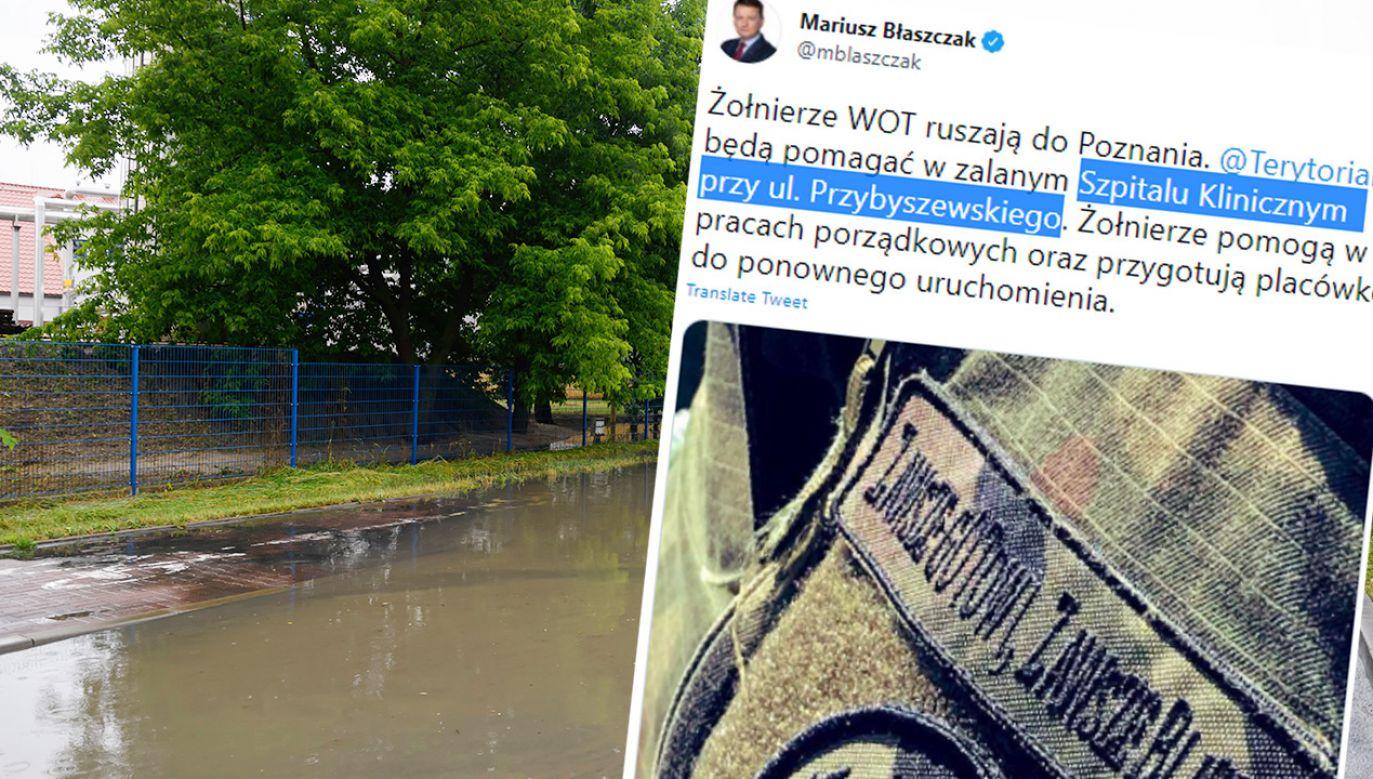 W Poznaniu i w okolicach doszło do licznych podtopień (fot. PAP/Jakub Kaczmarczyk; TT)