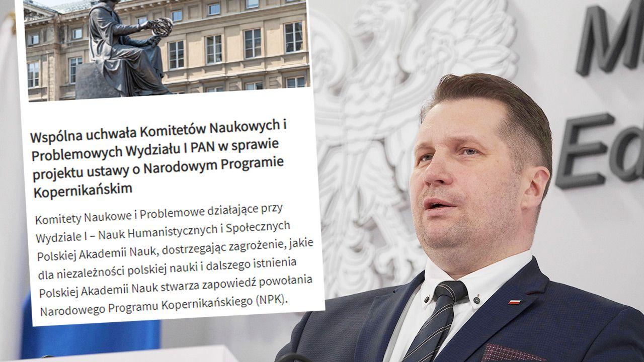 Uchwała w sprawie czegoś, czego nie ma, to kompromitacja – ocenia minister Przemysław Czarnek (fot. PAP/Mateusz Marek; PAN)