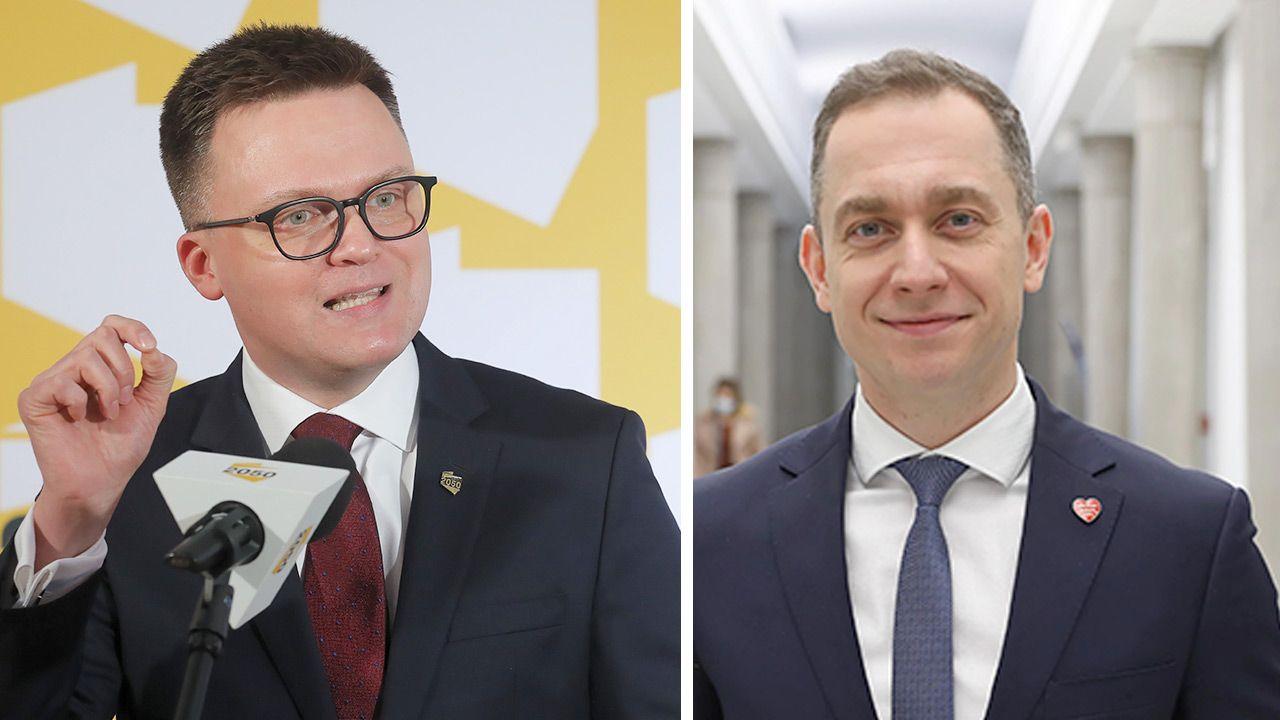 Lider Polski 2050 Szymon Hołownia skrytykował posłów PO, w tym szefa klubu KO Cezarego Tomczyka (fot. PAP/Paweł Supernak; Leszek Szymański)