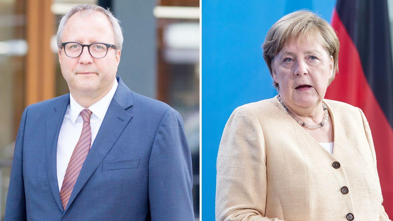 Od lewej: Andreas Vosskuhle i Angela Merkel (fot. PAP/EPA/BERND VON JUTRCZENKA / POOL; Ute Grabowsky/Photothek via Getty Images)