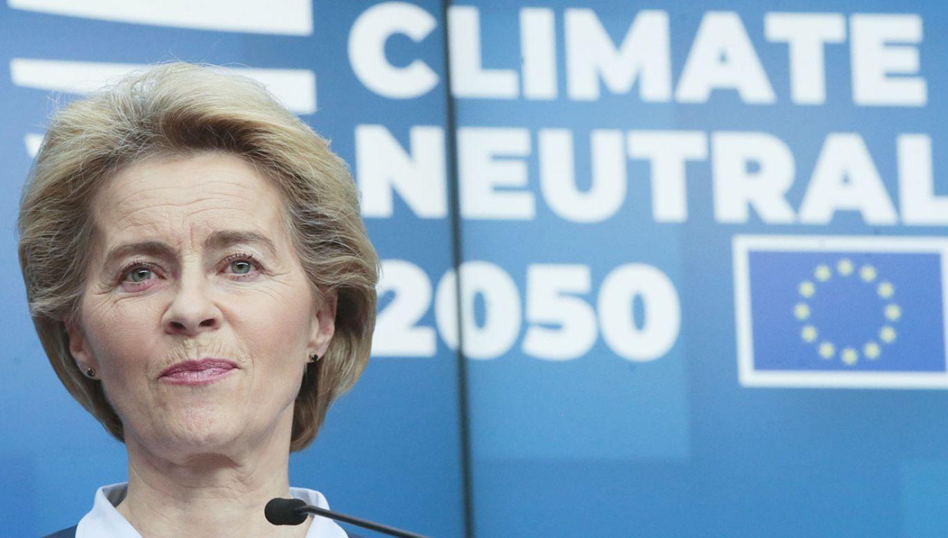 Szefowa KE Ursula von der Leyen (fot. PAP/EPA/OLIVIER HOSLET)