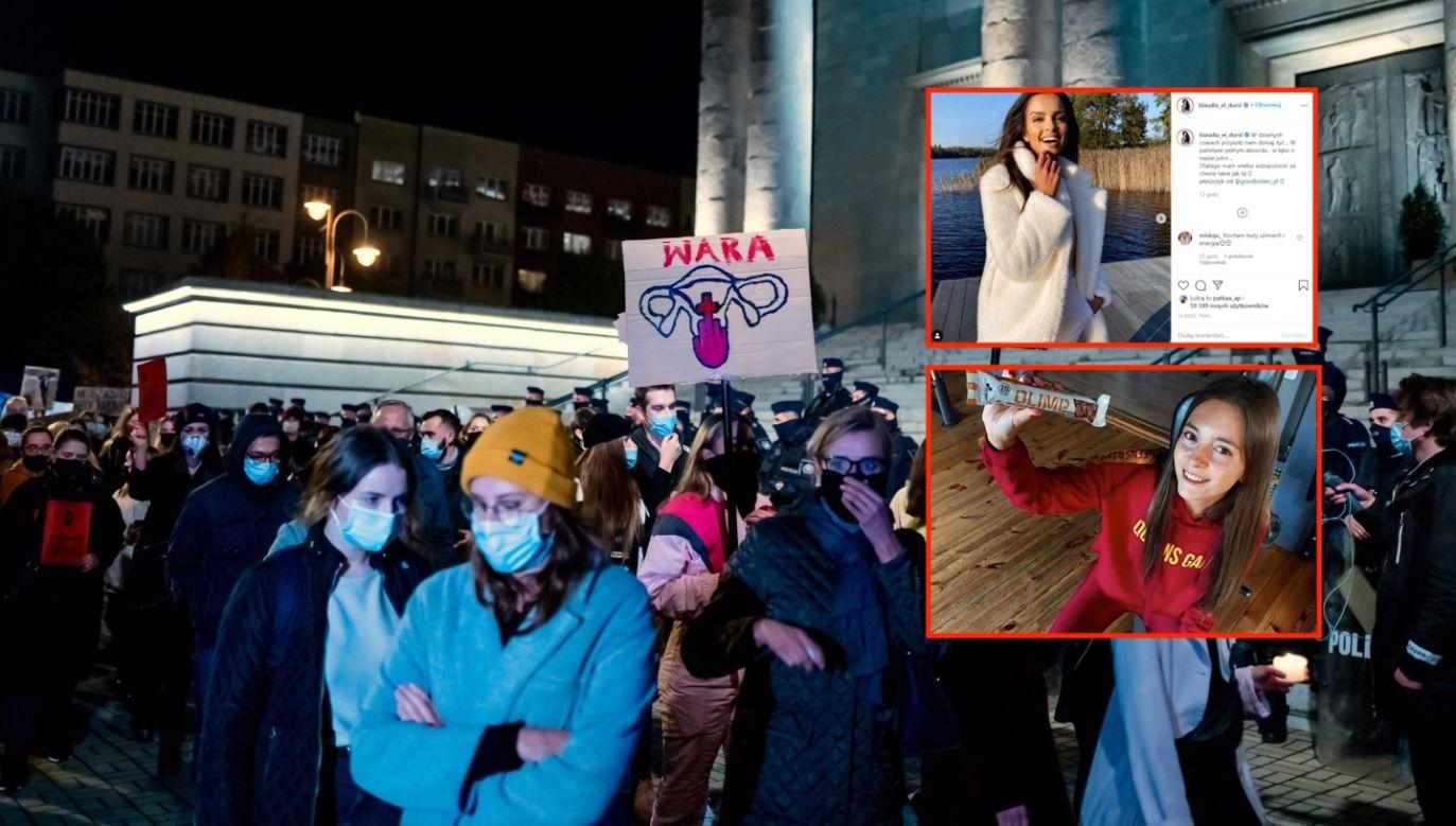 Protest przeciwko decyzji TK ws. aborcji (fot. PAP/Andrzej Grygiel, instagram.com/klaudia_el_dursi, instagram.com/Fitbadurka)