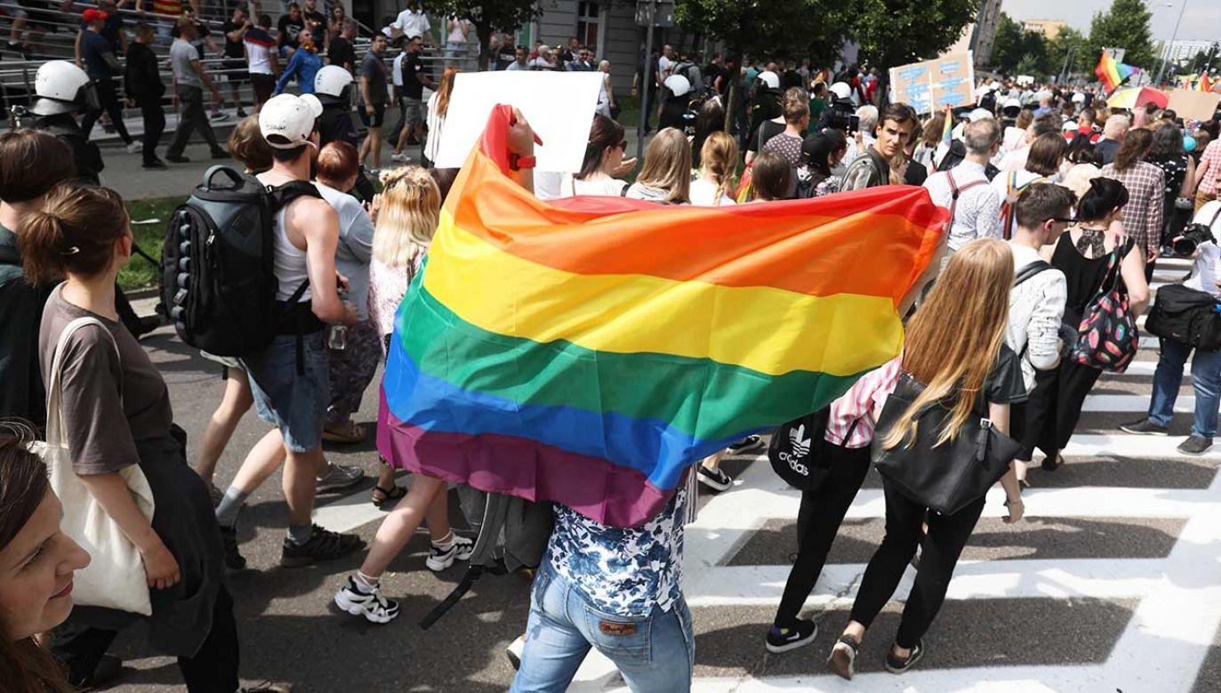 Przedstawiciele środowisk LGBT manifestują na ulicach miast (fot. PAP/Artur Reszko)