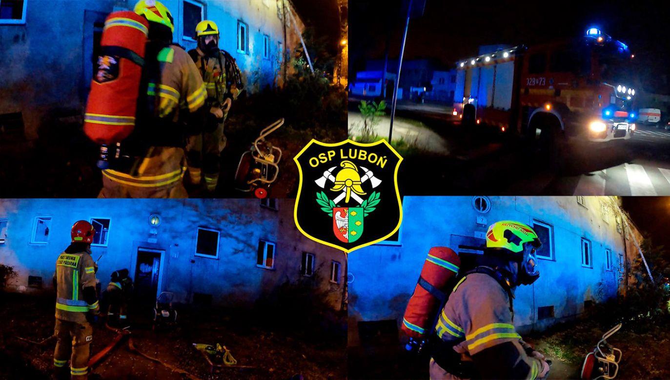 Na miejscu wciąż pracują strażacy (fot. FB/OSP Luboń)