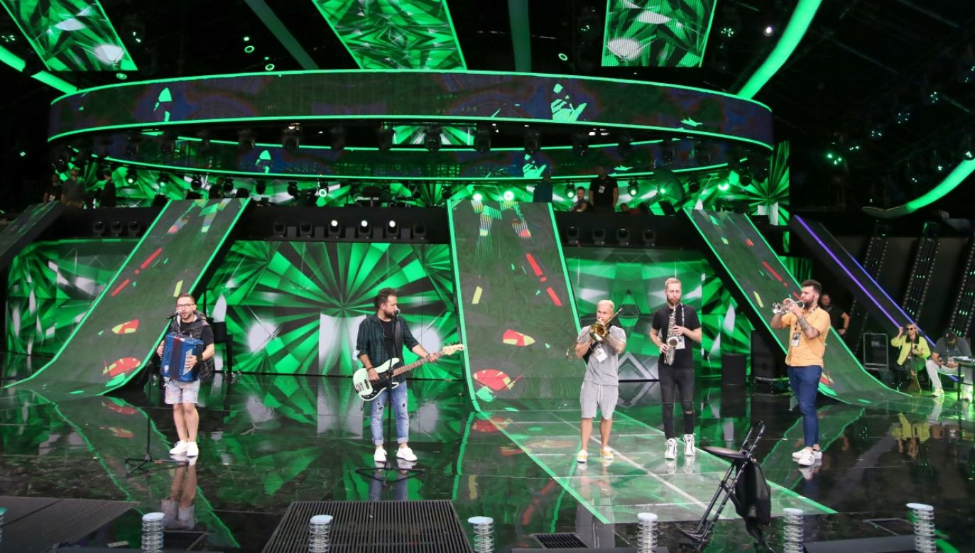 Zespół Enej podczas próby koncertu w Opolu (fot. PAP/Krzysztof Świderski)