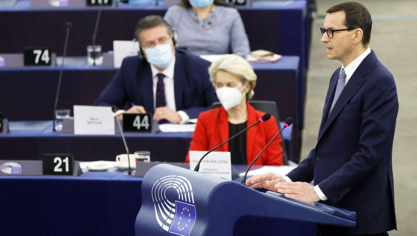 Politolog o wystąpieniu polskiego premiera w PE (fot. PAP/EPA/RONALD WITTEK)