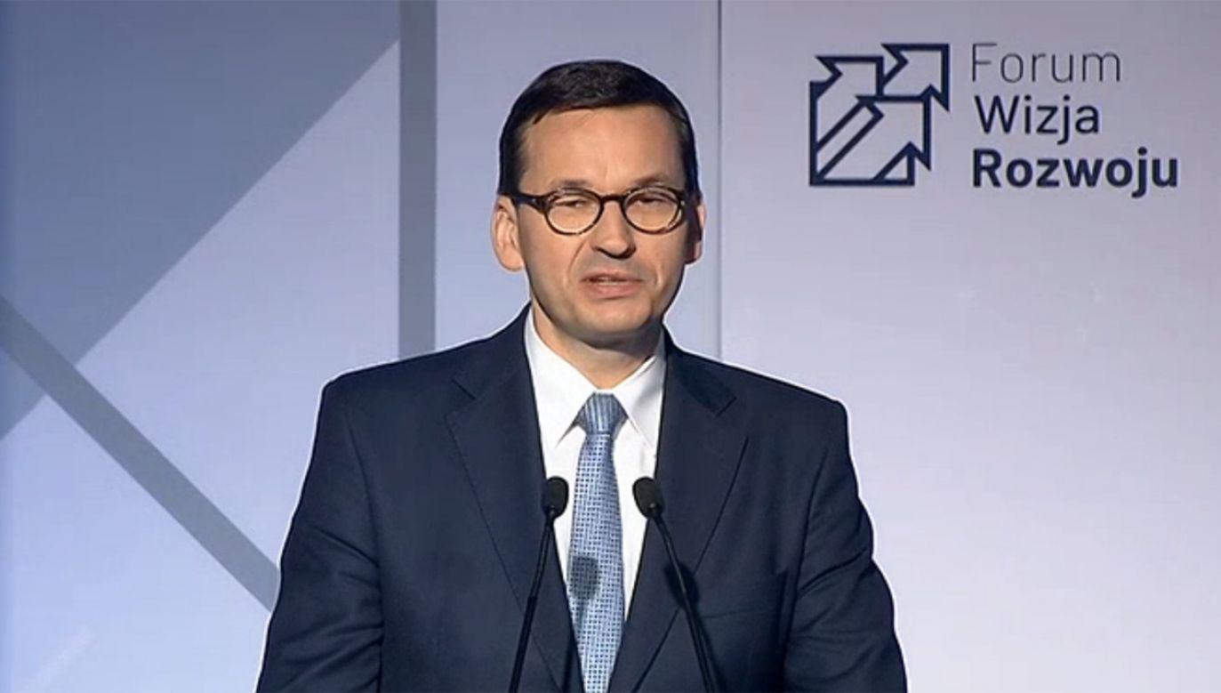 Premier Mateusz Morawiecki wziął udział w Europejskim Forum  Badań i Innowacji w Dreźnie (fot. TVP Info)