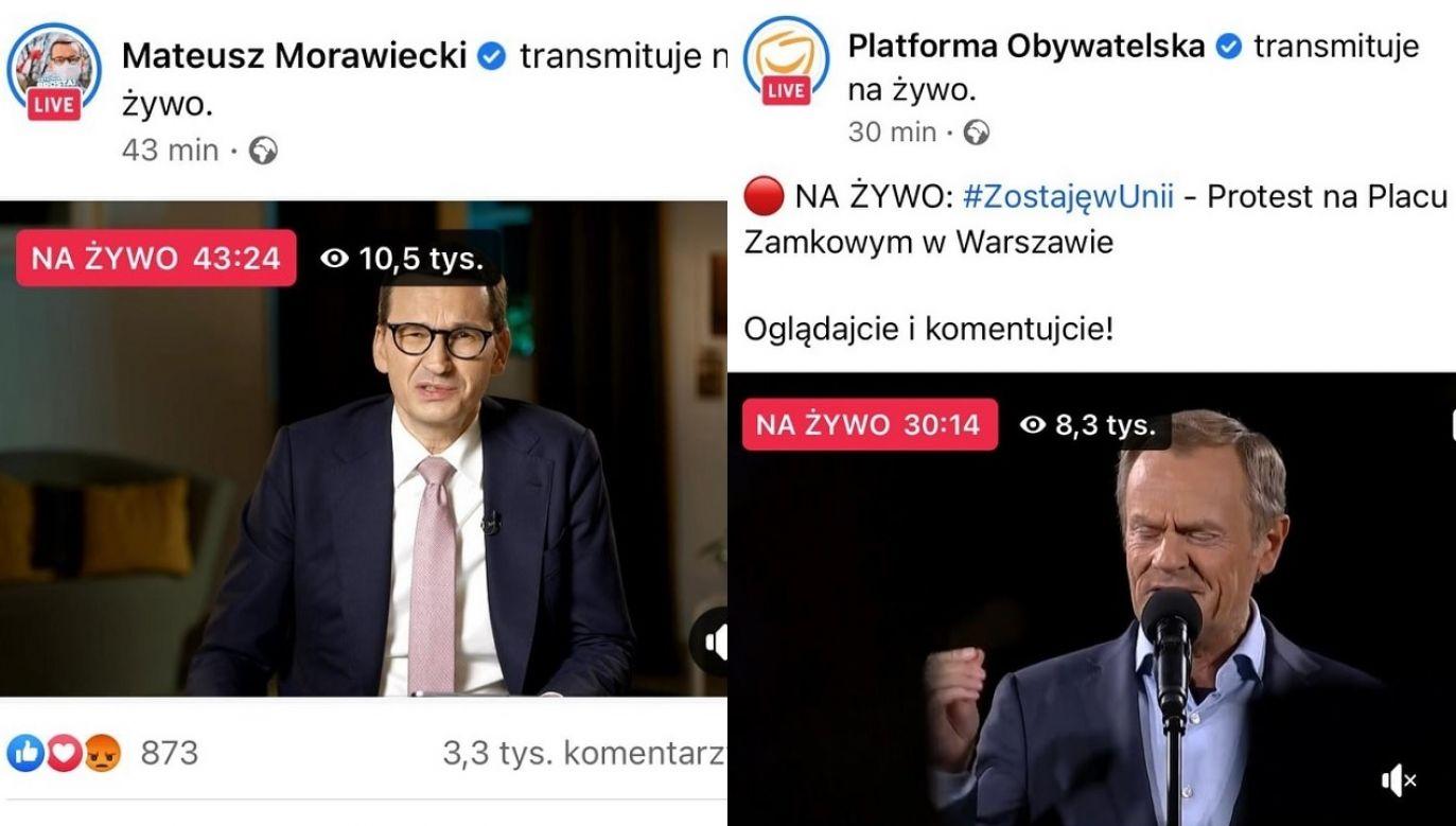 Q&A z premierem Morawieckim oglądało 10,5 tys. osób (fot. FB/MorawieckiPL, FB/PlatformaObywatelska)