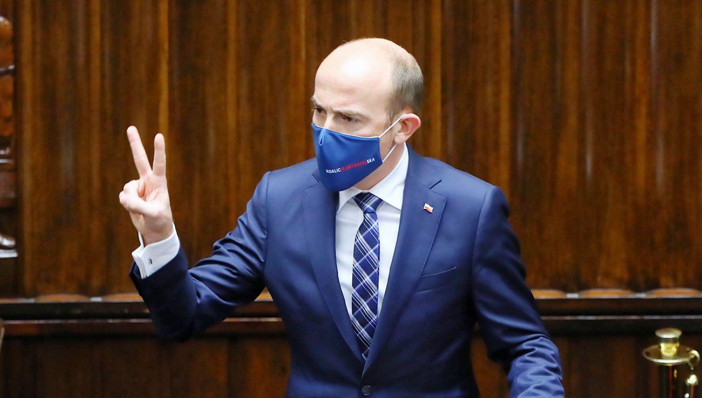 Przewodniczący PO Borys Budka w Sejmie (fot. PAP/Rafał Guz)