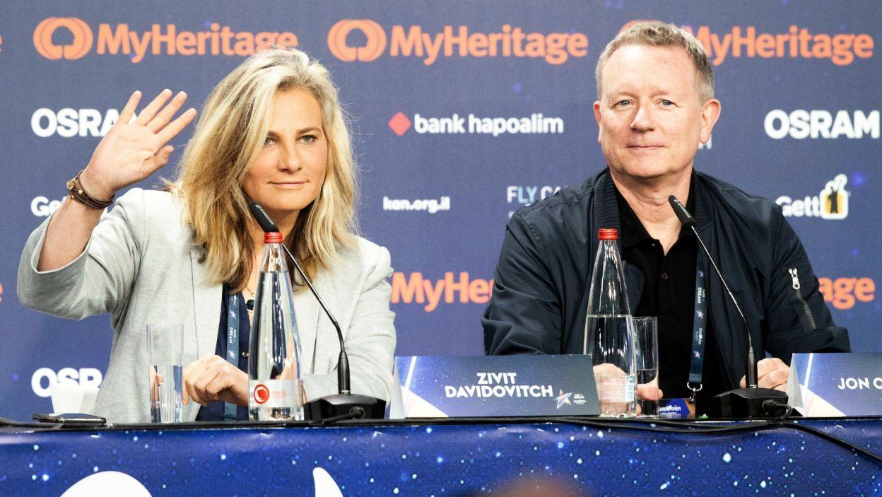 Na specjalnej konferencji prasowej w Tel Awiwie ogłoszono, że finał promować ma latawiec (fot. EBU/Andres Putting)