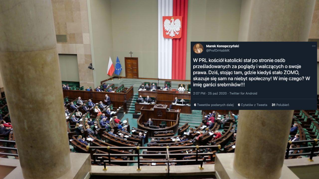 Marek Konopczyński z poparciem Porozumienia na Rzecznika Praw Obywatelskich (fot. PAP/Mateusz Marek)